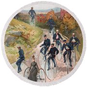 Group Riding Penny Farthing Bicycles Round Beach Towel