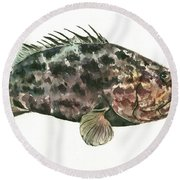 Grouper Fish Round Beach Towel