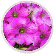 Grouping Of Petunias Round Beach Towel