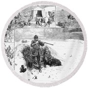 Grouse Hunting, 1887 Round Beach Towel