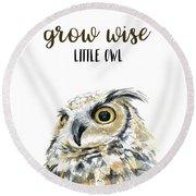 Grow Wise Little Owl Round Beach Towel