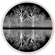 Growing Old Together - The Negative Round Beach Towel