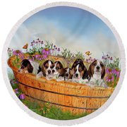 Growing Puppies Round Beach Towel