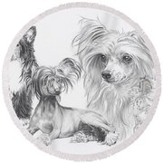 Growing Up Chinese Crested And Powderpuff Round Beach Towel