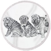 Growing Up Chinese Shar-pei Round Beach Towel by Barbara Keith