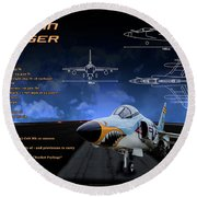 Grumman F-11 Tiger Round Beach Towel