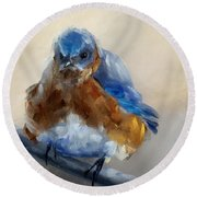Grumpy Bird Round Beach Towel