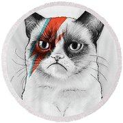 Grumpy Cat As David Bowie Round Beach Towel