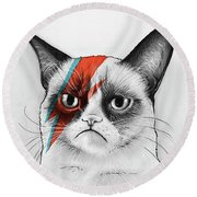 Grumpy Cat As David Bowie Round Beach Towel