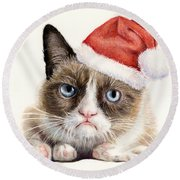 Grumpy Cat As Santa Round Beach Towel by Olga Shvartsur