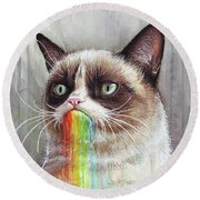 Grumpy Cat Tastes The Rainbow Round Beach Towel by Olga Shvartsur