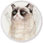 Grumpy Watercolor Cat Round Beach Towel