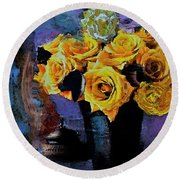Grunge Friendship Rose Bouquet With Candle By Lisa Kaiser Round Beach Towel