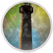 Grunge Lighthouse Round Beach Towel