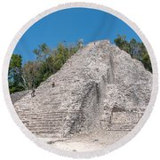 Grupo Nohoch Mul At The Coba Ruins  Round Beach Towel