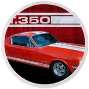 Red Gt 350 Mustang Round Beach Towel
