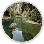 Guadalevin River At El Tajo Gorge From The Bottom Of The Secret  Round Beach Towel