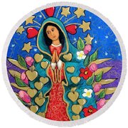 Guadalupe With Stars Round Beach Towel