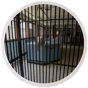 Guard Desk Inside Prison Cellblock Round Beach Towel