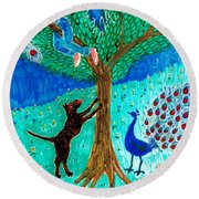 Guard Dog And Guard Peacock  Round Beach Towel