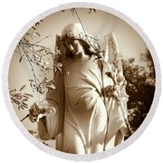 Guardian Angel Bw Round Beach Towel