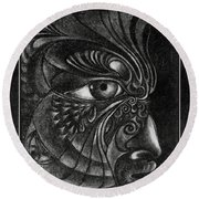 Guardian Cherub Round Beach Towel
