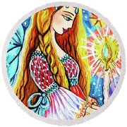 Guardian Mother Of Life Round Beach Towel