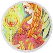 Guardian Mother Of Light Round Beach Towel
