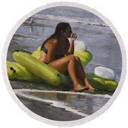 Guardian Of The Rafts Round Beach Towel
