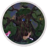 Guardian Of The Woods Round Beach Towel