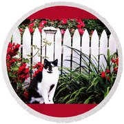 Guarding The Rose Garden Round Beach Towel