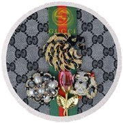Gucci With Jewelry Round Beach Towel