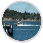 Guemes Island And Fishing Boat Round Beach Towel