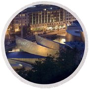 Guggenheim At Night Round Beach Towel