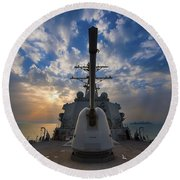 Guided-missile Destroyer Uss Higgins Round Beach Towel