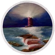 Guiding Night Light Round Beach Towel