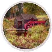 Guildhall Grist Mill In Fall Round Beach Towel