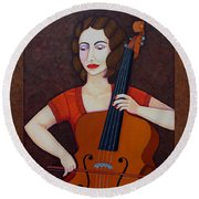 Guilhermina Suggia - Woman Cellist Of Fire Round Beach Towel