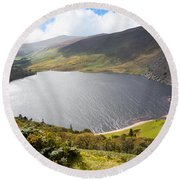 Guinness Lake In Wicklow Mountains  Ireland Round Beach Towel