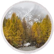 Guisane Valley In Autumn - French Alps Round Beach Towel