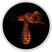 Guitar And Hat Round Beach Towel