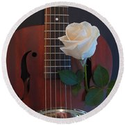 Guitar And Rose 2 Round Beach Towel
