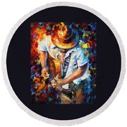 Guitar And Soul Round Beach Towel
