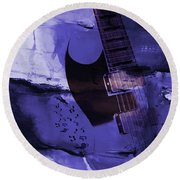 Guitar Art 001a Round Beach Towel