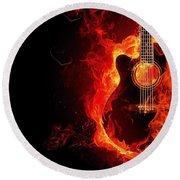 Guitar On Fire Round Beach Towel