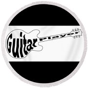 Guitar Player Round Beach Towel