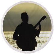 Guitar Silhouette Round Beach Towel