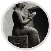 Gula, Mesopotamian Goddess Of Healing Round Beach Towel