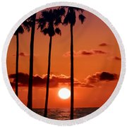 Gulf Coast Sunset Round Beach Towel