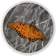 Gulf Fritillary Butterfly In The Brambles Round Beach Towel